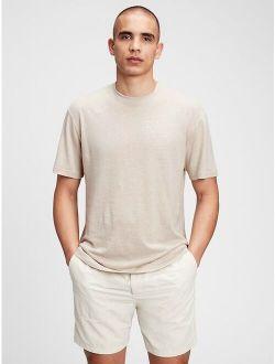 Linen Crew Neck Short Sleeve T-Shirt