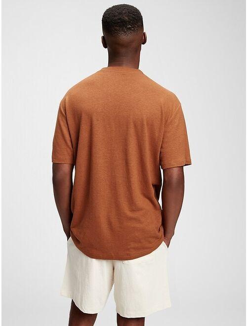 GAP Linen Crew Neck Short Sleeve T-Shirt