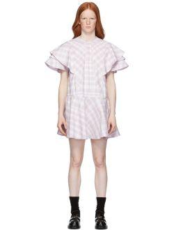 WE11DONE Purple & White Check Ruffle Dress