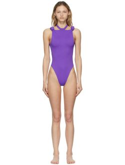 The Attico Purple Knotted One-Piece Swimsuit