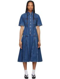 Wales Bonner Blue Denim Saint Catherine Shirt Dress