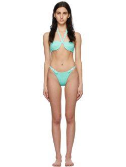 Medina Swimwear Blue Smocked Lagoon Bikini