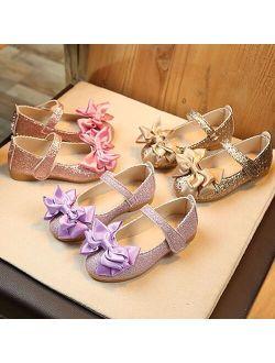 SZYADEOU Girl Fashion Golden Princess Bowknot Polyurethane Ballet Flats