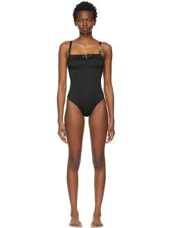 Moschino Black Buckle One-Piece Swimsuit