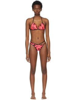 Moschino Pink Brush Stroke Lettering Bikini