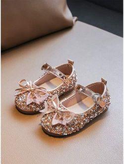 Girls Bow Decor Sequin Ballet Flats