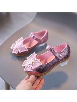 SZYADEOU Girls PU Leather Bowknot Golden Ballet Shoes