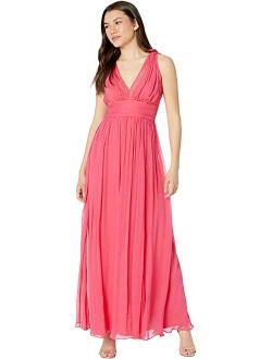 BCBGMAXAZRIA Crinkle Chiffon Gown with Tie Detail