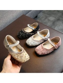 JAYCOSIN 2019 Autumn Girls Princess Shoes Infant Kids Baby Crystal Pearl Sequins Bling Sandals Soft Sole Dance Shoes Flat Princess Shoes