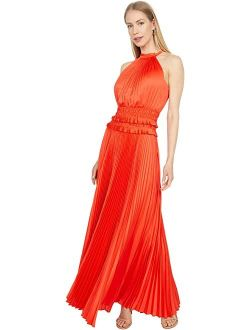 BCBGMAXAZRIA Satin Pleated Halter Gown