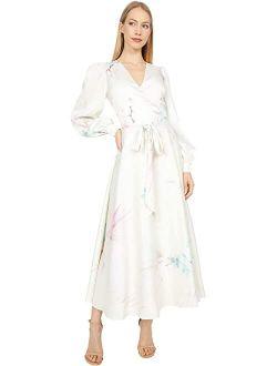 Flosssi Floral Wrap Long Sleeve Midi Dress