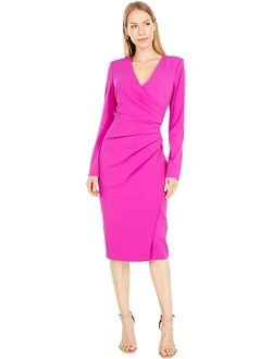 Badgley Mischka Long Sleeve Shirred Day Dress