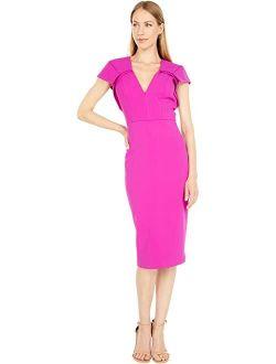 Badgley Mischka V-Neck Cap Sleeve Shift Dress
