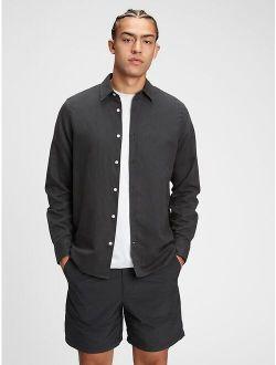 Linen-Cotton Spread Collar Long Sleeve Shirt