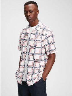 Poplin Print Spread Collar Relaxed Fit Shirt
