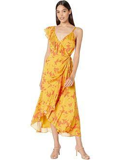 Saraaa Ruffle Midi Wrap Dress