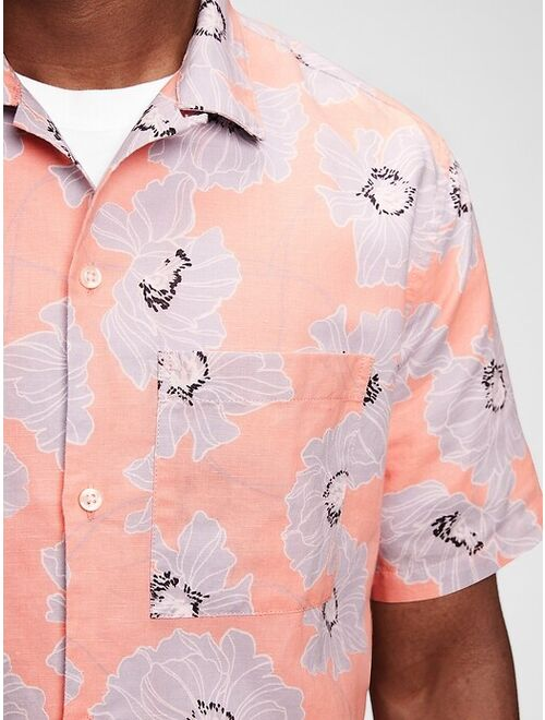GAP Resort Print Shirt Sleeve Relaxed Fit Shirt