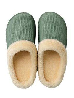 House Slippers Plush Fleece Lined Warm Shoes Women Men Indoor Outdoor Waterproof Slippers(green,11-11.5 Women / 9.5-10 Men )