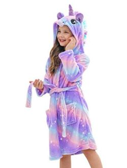 Doctor Unicorn Soft Unicorn Hooded Star Dots Bathrobe - Unicorn Gifts for Girls