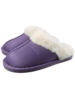 Mens Womens Slippers Warm Fluffy Plush Memory Foam House Slippers With Anti-sikd Sole Purple