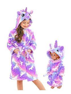 Doctor Unicorn Soft Unicorn Hooded Bathrobe Sleepwear Matching Doll & Girls