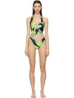 Louisa Ballou Blue & Green Sex Wax One-Piece Swimsuit