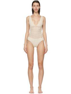 Off-white Cotton Crochet One-piece Swimsuit