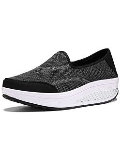 Women Platform Walking Sneakers Breathable Mesh Slip On Wedges Trainers Platform Loafers Toning Rocker Shoes