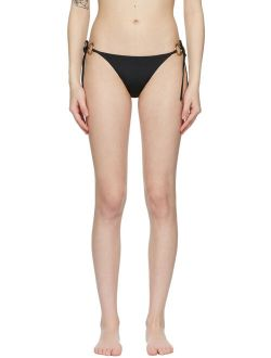Versace Underwear Black Ring-Hardware Bikini Bottom