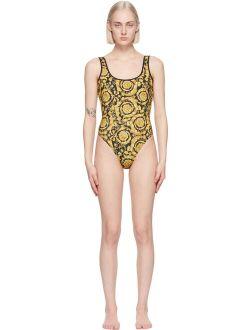 Versace Underwear Black & Yellow Barocco One-Piece Swimsuit