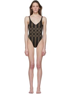 Brown 'forever Fendi' Stripe One-piece Swimsuit