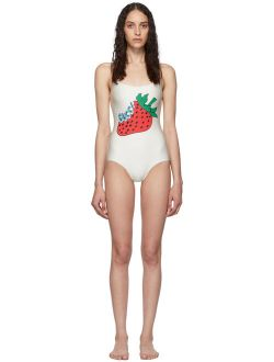 Off-white Strawberry One-piece Swimsuit
