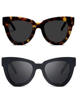 Retro Cat Eye Sunglasses Women Men Vintage Square Tortoise Shell Fashion Cateye Sunglasses