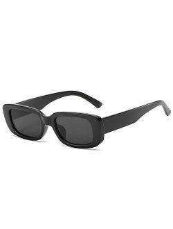 Retro Rectangle Sunglasses For Women Trendy Vintage 90s Small Sunglasses Uv 400 Protection Square Shades