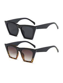 Square Cat Eye Sunglasses for Women Fashion Oversize Cateye Classic women Sunglasses