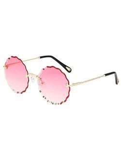 Rimless Round Sunglasses For Women Retro Flower Sunglasses Fashion Disco Oversized Sunglasses UV400 Protection