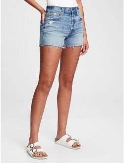 3'' High Rise Distressed Cheeky Shorts With Washwell™