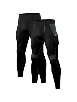 2 Pack Mens Compression Leggings Workout Running Tights with Pockets Cool Dry Baseball Active Sports Gym Pants