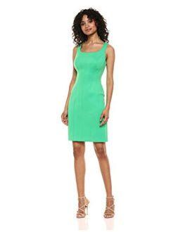 Women's Solid Scuba Sheath Dress