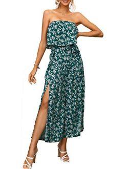 Amegoya Women's Sexy Off Shoulder Floral Print Romper Casual Drawstring Wide Leg Pants Jumpsuit