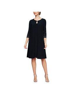 Women's Midi Scoop Neck Shift Dress With Jacket (petite And Regular)