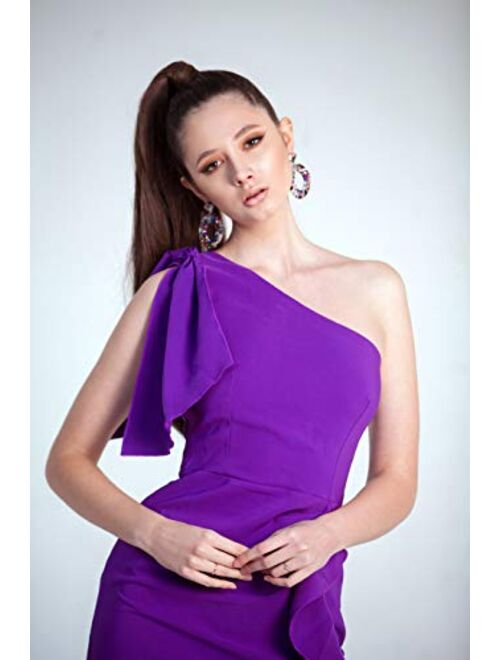 AISIZE Women's Sexy One Shoulder Ruffle Party Bodycon Pencil Dress