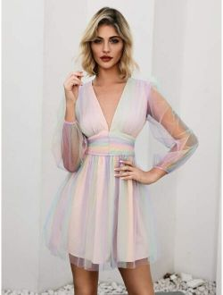 Double Crazy Plunging Neck Rainbow Mesh Skater Dress