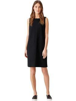 Crew Neck Knee Length Tank Dress In Organic Cotton Stretch Jersey
