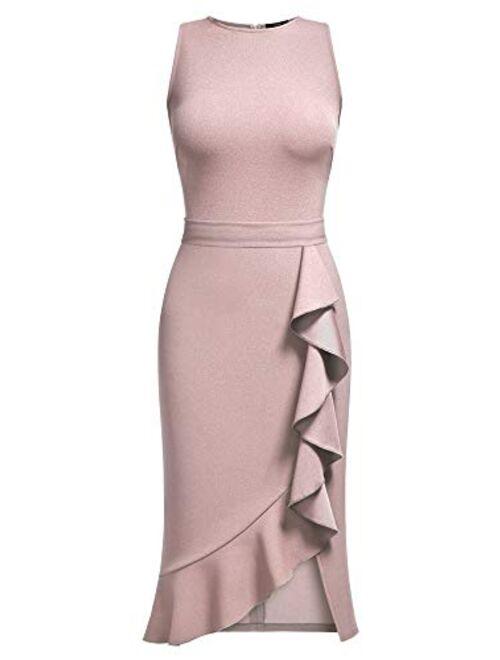 Knitee Women's Vintage Sleeveless Ruffle Slit Evening Party Cocktail Dress