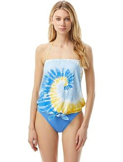 Ael Kors Vintage Tie-dye Tie Front Tankini With Removable Soft Cup