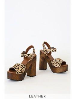Lolita Leopard Calf Hair Wooden Platform Heels