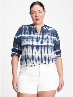 Women's Tie-dye Linen Popover Top