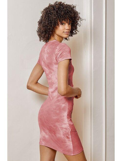 Lulus Sugar Ruche Pink Multi Tie-Dye Ruched Short Sleeve Mini Dress