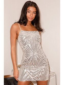 Lost In Your Eyes Silver Sequin Bodycon Mini Dress